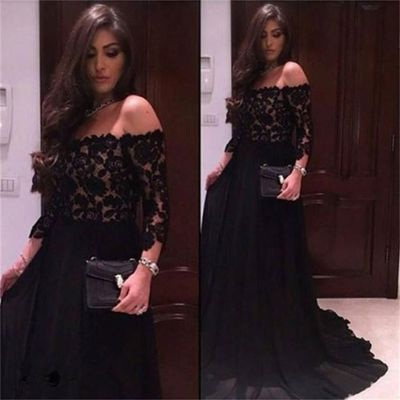 Black Off The Shoulder Long Sleeves Chiffon A Line Prom Dress