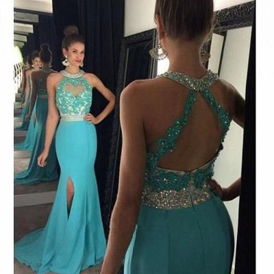Mermaid Long Prom Dress, Blue Long Prom Dress with Open Back