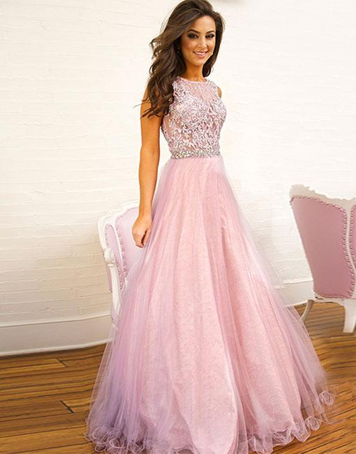 9860937996f8 Pink Lace Tulle Long Prom Dress, Pink Evening Dress , Formal Dress ...