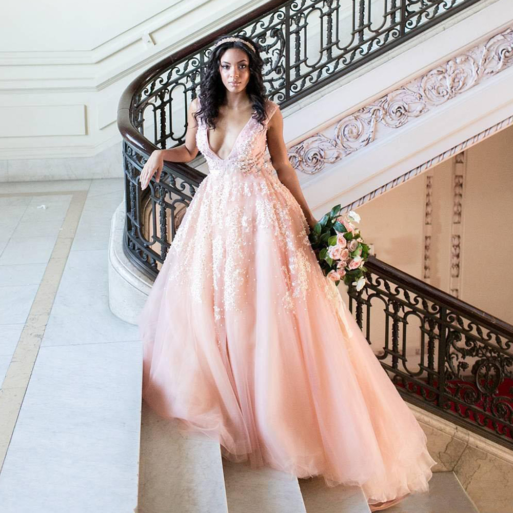 Blush Pink Wedding Dresses,White Lace Appliques Wedding Dress,See ...