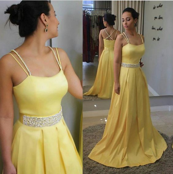 bd3d8ad64f1 Long Satin Pastel Yellow Prom Dress with Doubled Spaghetti Straps Evening  Dresses