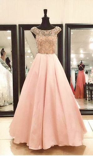 A-line Cap Sleeves Beaded Prom Dress,Prom Dresses, Formal Prom Gown, With Beading evening dresses, Quinceanera Dresses