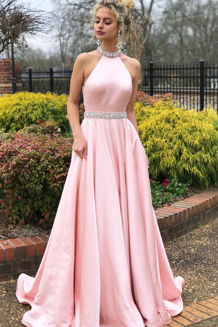 233c153ab59 Elegant Beaded Pink Long Prom Dress With Open Back