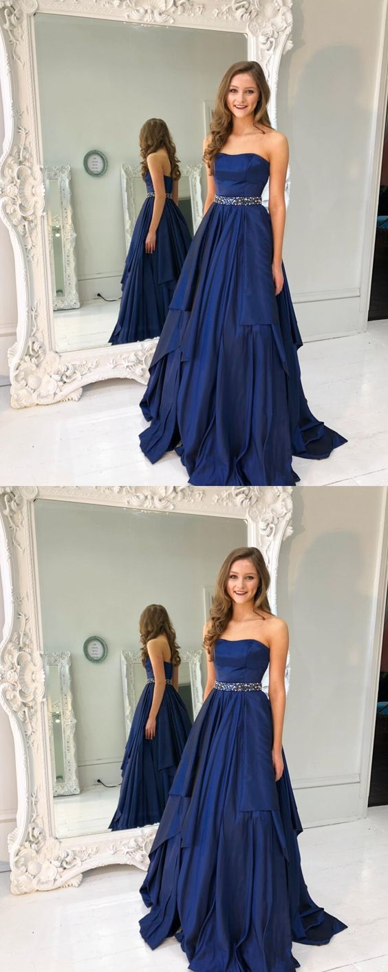 565a06495491 Gorgeous Strapless Navy Blue Long A-Line Prom Dress , Evening Gowns ...