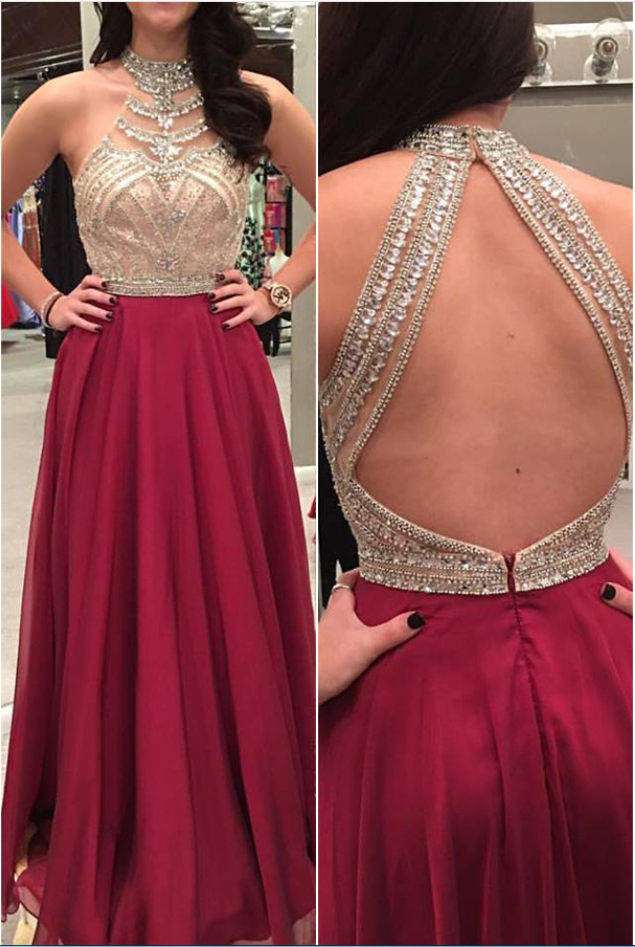 Beaded Bodice Burgundy Prom Dresses,Chiffon Formal Dress,Open Back Pageant Dress,Evening Gowns