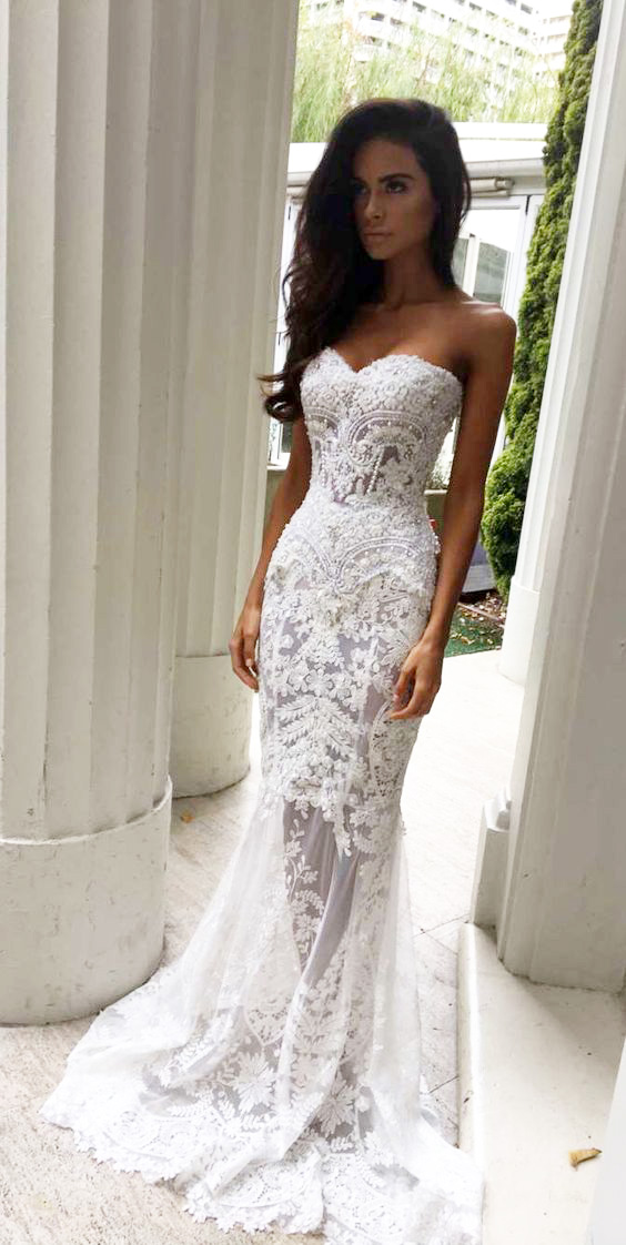 Charming Sheath Sweetheart Wedding Dresses With Appliques Lace