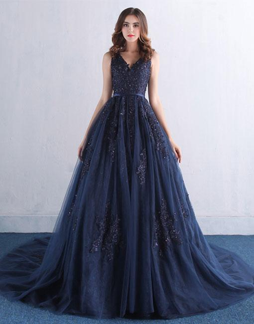 Simple V Neck Dark Navy Lace Tulle Prom Dressbackless Evening Dressapplique Navy Blue Prom Gownsevening Dress Backless Long Prom Dresses Prom