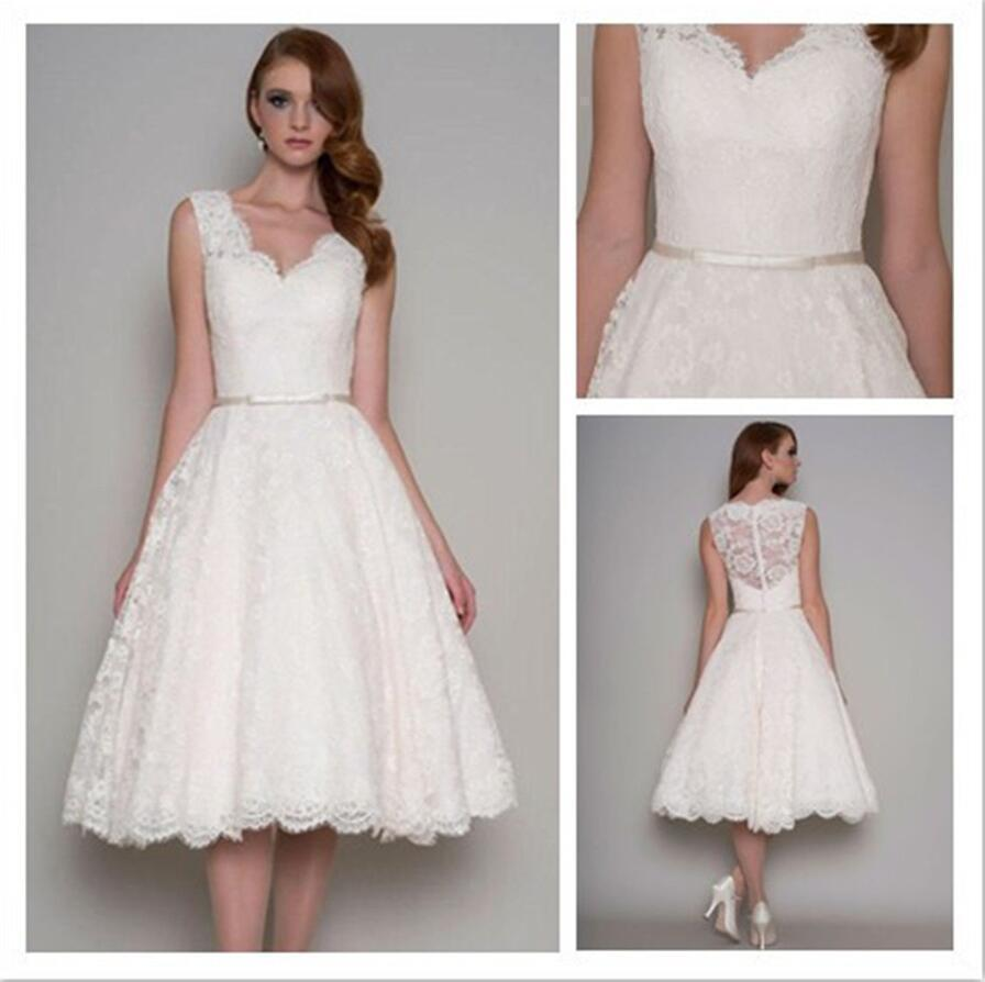 5f8744f641a New V-neck Tea Length Wedding Dress