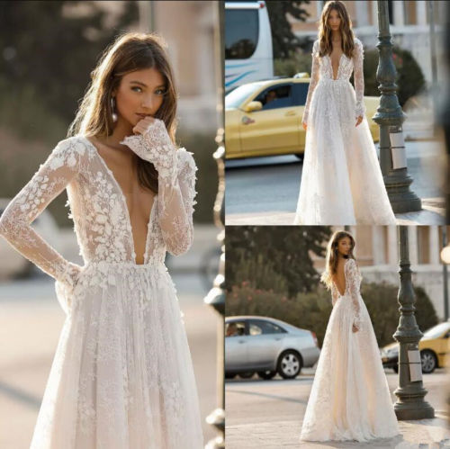 V Neck Bohemian Wedding Dress