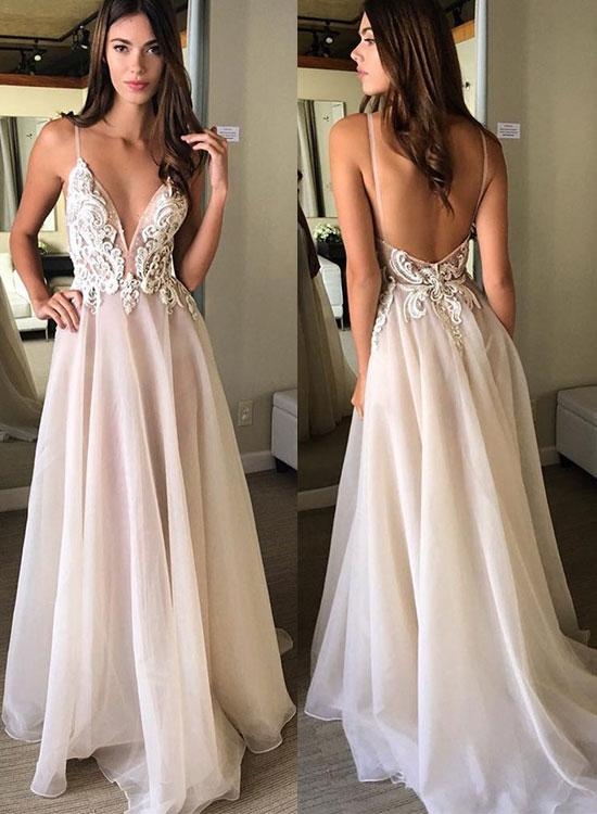 52a56378f94c Champagne v neck lace long prom dress, champagne evening dress,Floor Length Evening  Prom Gowns,Prom Dresses, Long Evening Dress