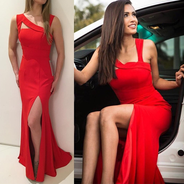 Spaghetti Straps Evening Dress Customized Sleeveless Floor-Length Split Front Sheath Evening Dress,Satin Prom Dresses