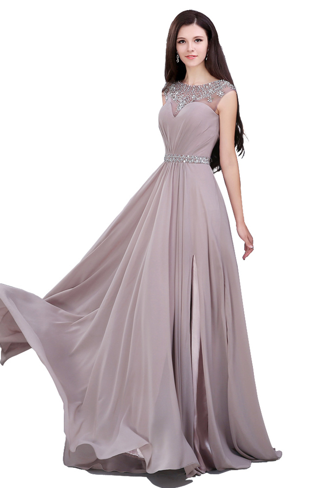Elegant Beading Sequined Chiffon Straight Prom Dresses,Sashes Pleat Sweep Train Prom Dress,Short Sleeve Evening Dresses,Csutom Made Evening Dress