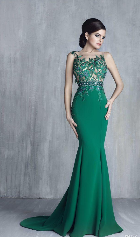 Tony Chaaya Green Mermaid Prom Dresses Jewel Sheer Neck Illusion Appliques Formal Evening Gowns Cheap Long Party Dress