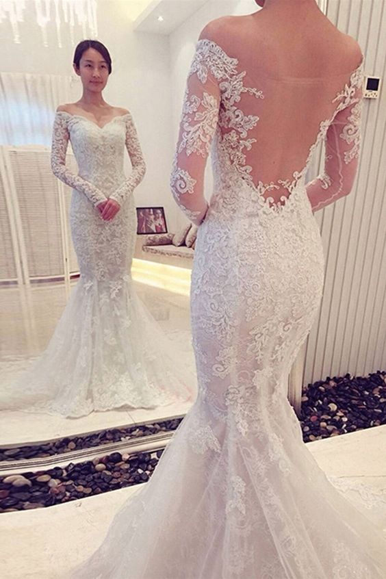 Charming Off The Shoulder Long Sleeves Lace Mermaid Wedding Dress Mermaid Lace Wedding Dress Lace Wedding Dress Long Sleeves Wedding Dress High