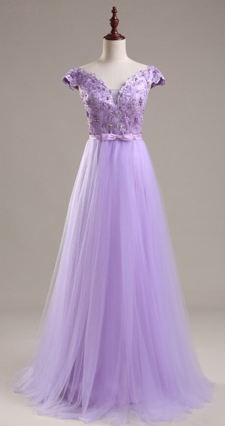 Light Purple tulle Prom Dresses Cap Sleeves Appliques Party Dresses,formal evening gown