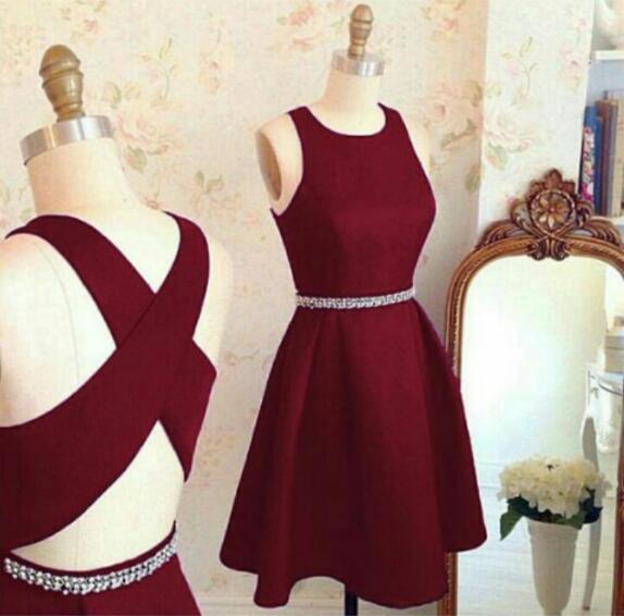 Cheap homecoming dresses ,homecoming Dress, Short A line homecoming dress,burgundy homecoming dress,cross back short party dress,cocktail dresses