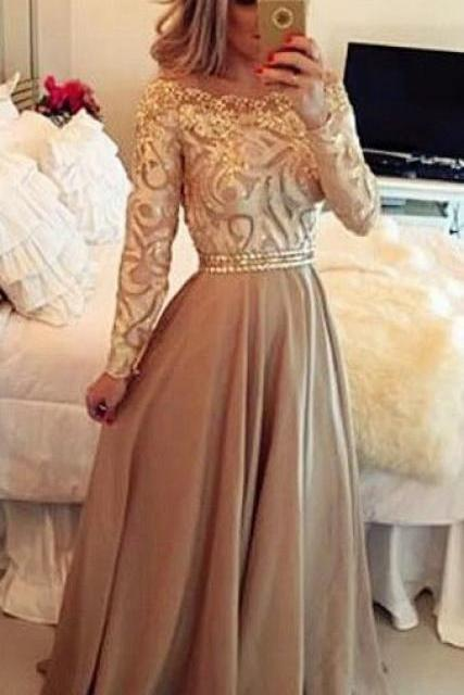 Custom Charming Long Prom Dress,Beading Long Sleeves Evening Dress,Off the shoulder Party Dress