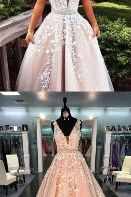 Custom Made Champagne Prom Dresses,Ball Gown Prom Gowns,Lace Prom Dresses,Tulle Appliques Party Dress