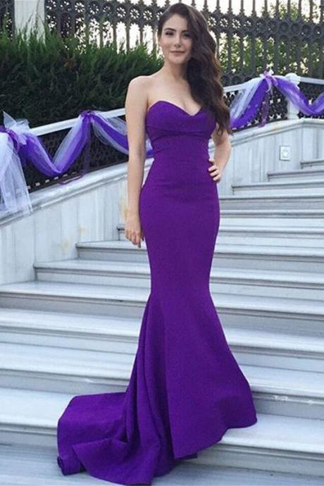 Purple Evening Dresses ,Sexy Evening Dresses ,Mermaid Long Dresses ,Women Long Dresses ,Satin Long Girls Dresses , Wedding Party Dresses ,Long Prom Dress