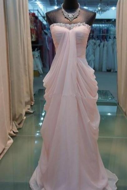 Custom Made Light Pink Chiffon Floor Length Prom Dresses , New Style Prom Dresses ,Pink Prom Dress, Prom Gown, Bridesmaid Dreses,Party Dress ,Eveneing Dress