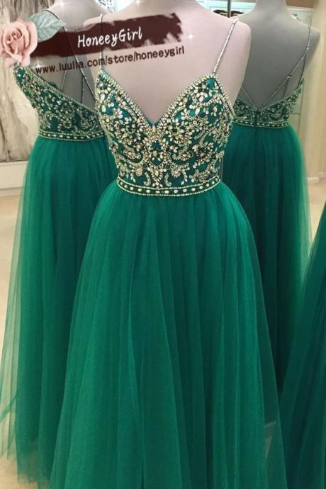 Green Sleeveless Spaghetti Straps Beaded Prom Dress, Evening Dress, Formal Dress