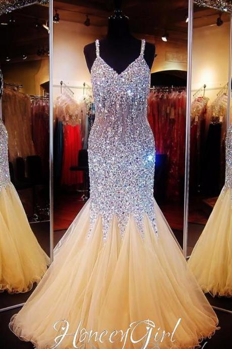Prom Dress,Bling Prom Dress, Spaghetti Strap Prom Dress,Mermaid Prom Dress,Formal Prom Dress,Pageant Gowns,Gorgeous prom Dress