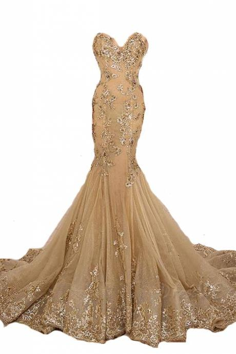 Gold Prom Dress,Lace Prom Dresses,Sexy Prom Dress,High Collar Prom Dress,Mermaid Prom Dress,Beaded Prom Dress,Champagne Prom Dress,Fashion Prom Dress,Luxury Prom Dress,Long Prom Dresses,Party Dress