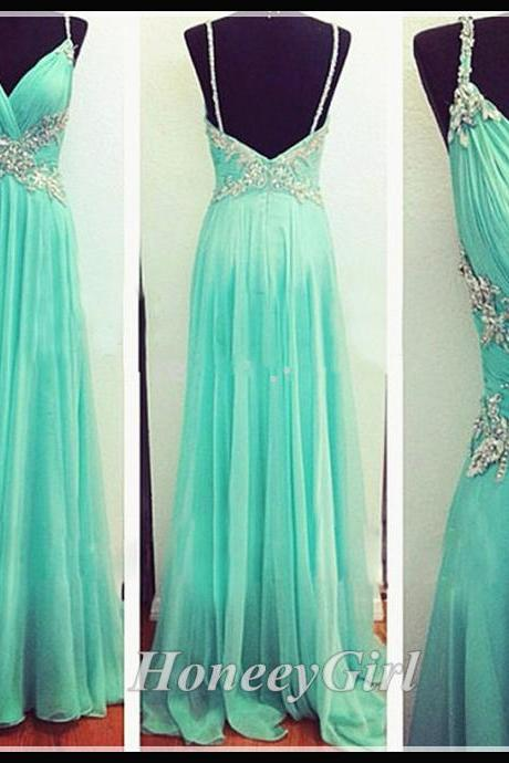 Prom Dress, Spaghetti Straps Prom Dresses, Long Prom Dress,Charming Prom Dress,Beaded Prom Dresses,Backless Prom Dress, 2016 Newest Prom Dress