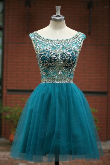 Elegant Sleeveless Tulle Short Prom Dress , Party Dress,Evening Dress Cocktail Dress Homecoming Dress