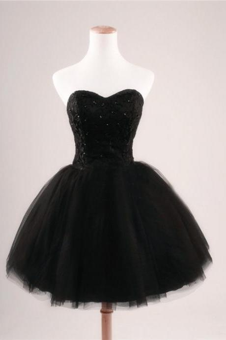 Black Prom Dress Strapless Ball Gown Tulle Party Dress Short Celebrity Dresses Evening Dresses Homecoming Dresses Sexy Cocktail Dresses