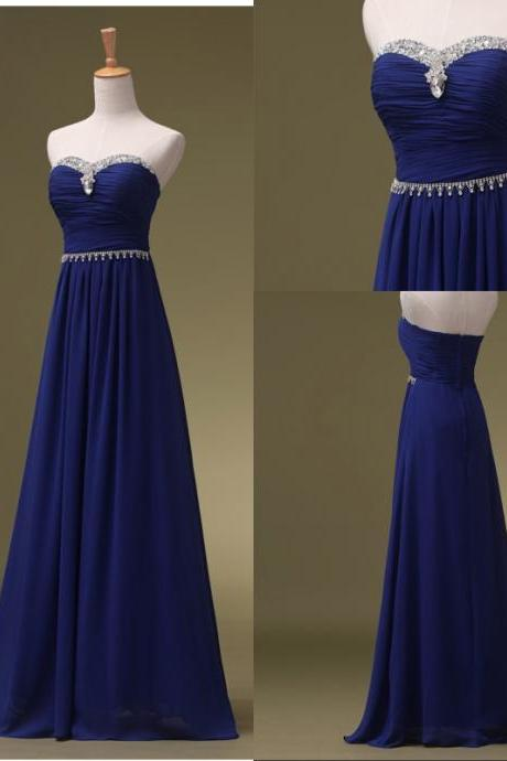 Prom Dress-Royal Blue Prom Dresses, Long Bridesmaid Dresses, Long Evening Dresses, Strapless Evening Gowns, Formal Dress, Party Dresses