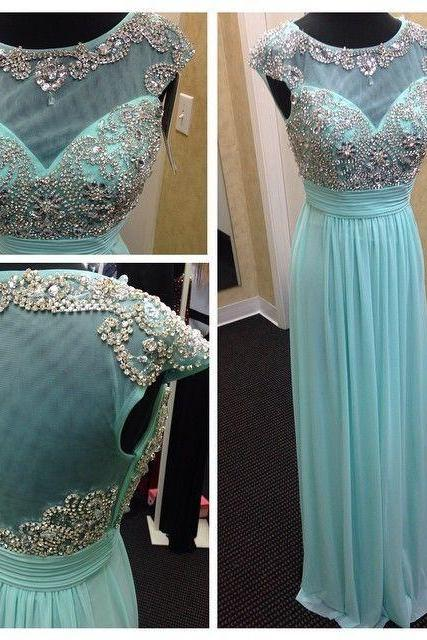 Mint Green Chiffon Prom Dress,Tulle Prom Dresses Boat Neck Cap Sleeve A Line Floor Length Beaded Long Formal Evening Prom Dress