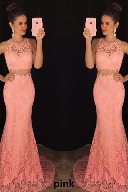 Lace Two-Piece Formal Dress Featuring Halter Crop Top and Floor Length Trumpet Skirt