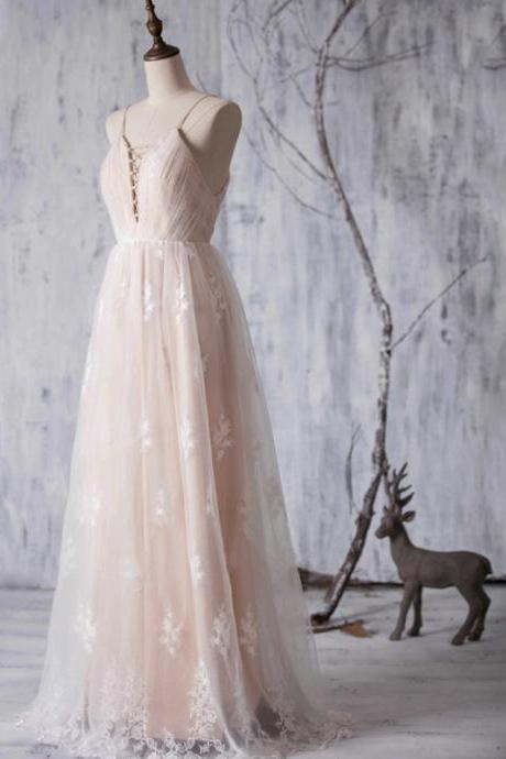 Sexy Prom Dresses, Romantic Pink Bridesmaid Dresses, Sexy Backless Spaghetti Straps Bridesmaid Gowns, Vintage Bridesmaid Gowns with Lace Appliques,Graduation Dresses,Wedding Guest Prom Gowns, Formal Occasion Dresses,Formal Dress