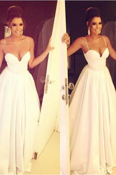 Simple Brides Dress with Spaghetti Straps,Satin Bridal Dress,White Wedding Dresses,Long Wedding Gown,Ruffled Wedding Gowns,Long Wedding Dress,Formal Dress,Graduation Dresses,Wedding Guest Prom Gowns, Formal Occasion Dresses,Formal Dress