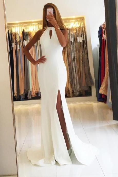 Backless White Prom Dresses,Chiffon Mermaid Evening Dresses Long Prom Gowns