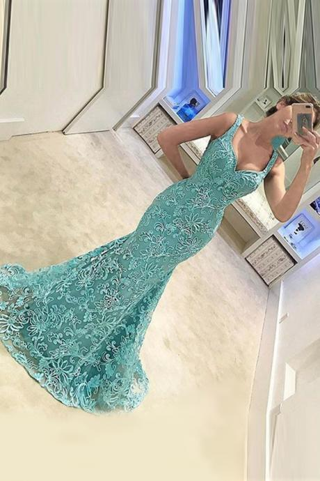 Lace Appliques Sweetheart Shoulder Straps Floor Length Mermaid Prom Dress Featuring Sweep Train