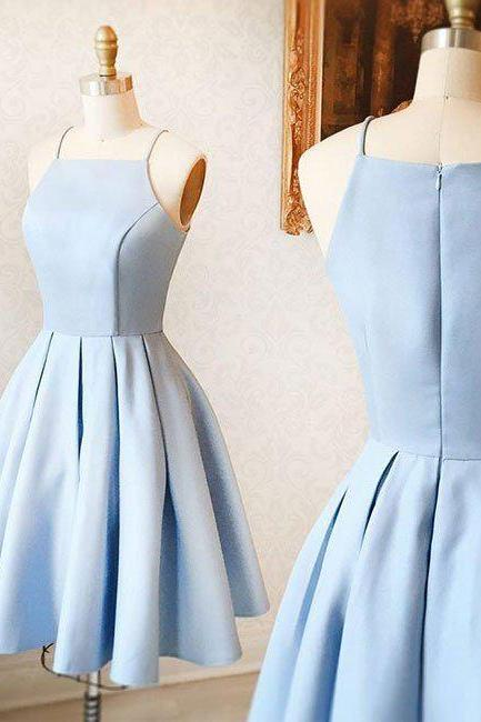Light Blue Halter Neck Short Ruffled Skater Homecoming Dress