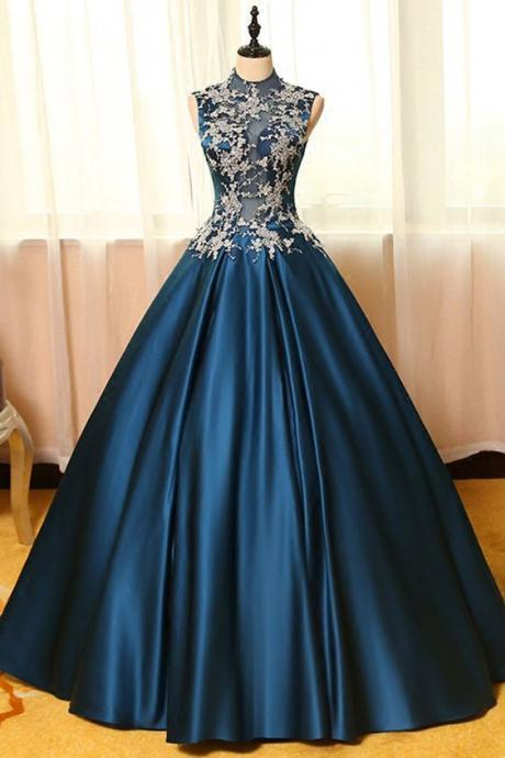 Blue satins lace prom dress applique round neck see-through A-line long prom dresses,ball gown dresses