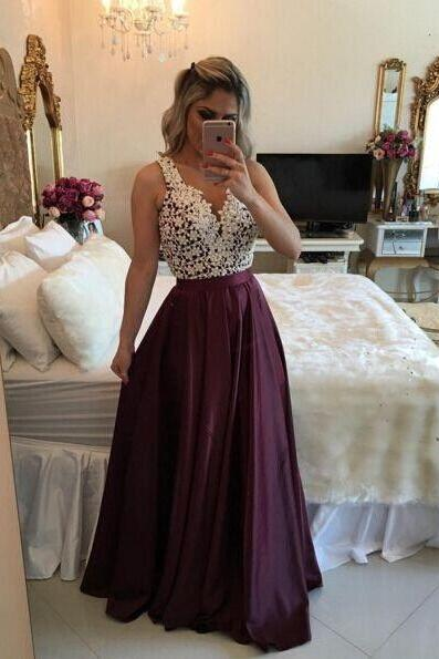 Charming Burgundy Prom Dress,Lace Pearl Beaded Party Dress,Sleeveless Evening Dress,High Quality