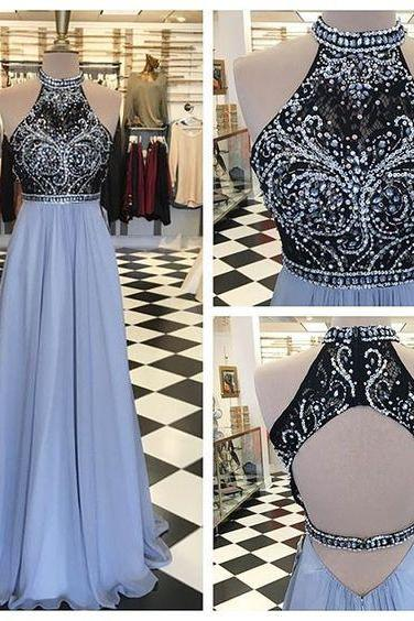 Charming Halter Prom Dress,Chiffon Beaded Evening Dress,Sleeveless Party Dress