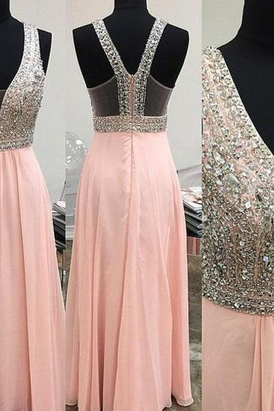 Beaded Embellished Plunge V Sleeveless Floor Length Chiffon A-Line Formal Dress, Prom Dress