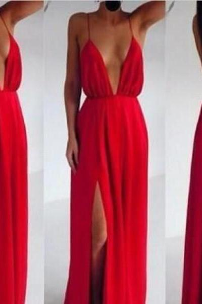 Red Chiffon Plunge V Spaghetti Straps Floor Length A-Line Formal Dress Featuring Slit and Open Back