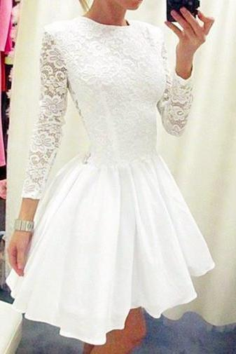 White Homecoming Dress,Cute Prom Dress,Lace Prom Dress,Sleeve Dress,Short Prom Dresses,Long Sleeves Homecoming Dresses
