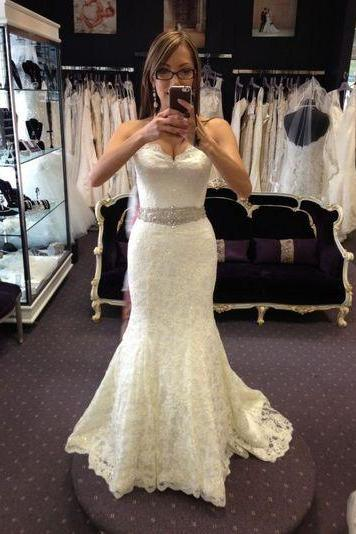 Lace Sweetheart Floor Length Mermaid Wedding Dress Featuring Beaded Embellished Belt