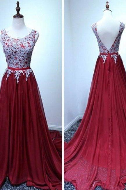 Burgundy Prom Dresses,A-line Chiffon Lace Long Prom Dress, Evening Dress