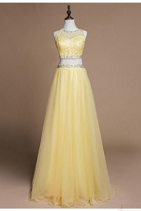 Yellow Two Piece Prom Dresses,Sequin Beading Long Prom Dress with Illusion Sweetheart Neckline