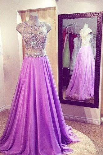 Lavender Chiffon Prom Dress,Beading Evening Dress,Floor Length Party Dress,High Quality