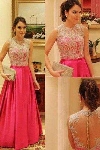 Hot Pink Prom Dress,Lace Evening Dress,A-Line Party Dress,Floor Length Prom Dress