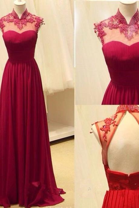 Charming Prom Dress, Elegant Prom Dress,High Neck Appliques Evening Dress,Long Prom Dresses,Sweep Train Prom Dress